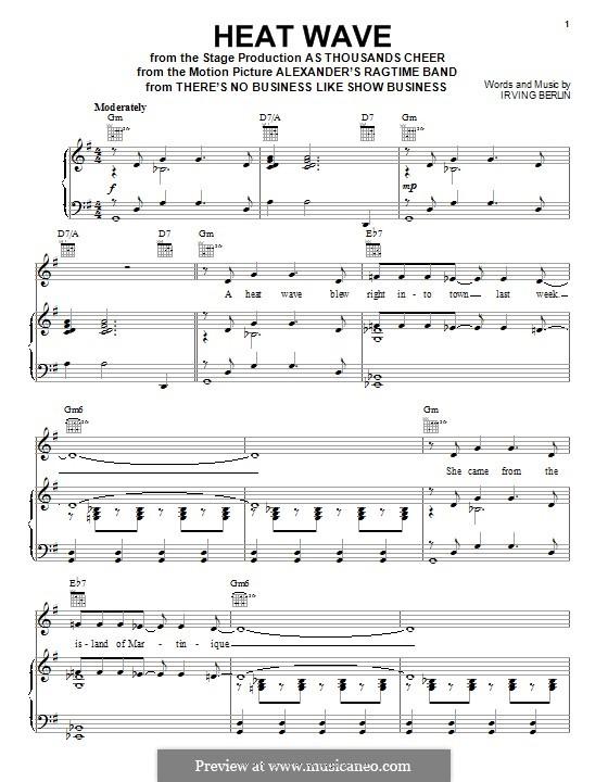 Heat Wave: Für Stimme und Klavier (oder Gitarre) by Irving Berlin