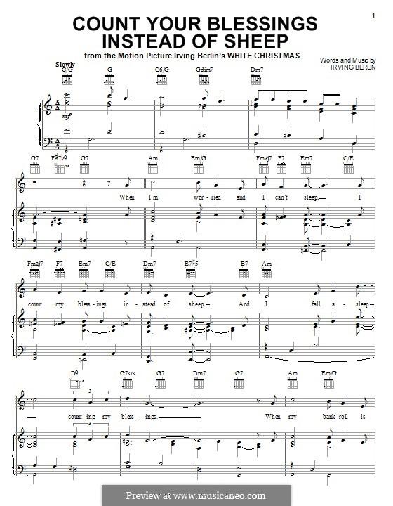 Count Your Blessings Instead of Sheep: Für Stimme und Klavier (oder Gitarre) by Irving Berlin