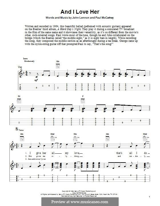 And I Love Her (The Beatles): Für Ukulele by John Lennon, Paul McCartney