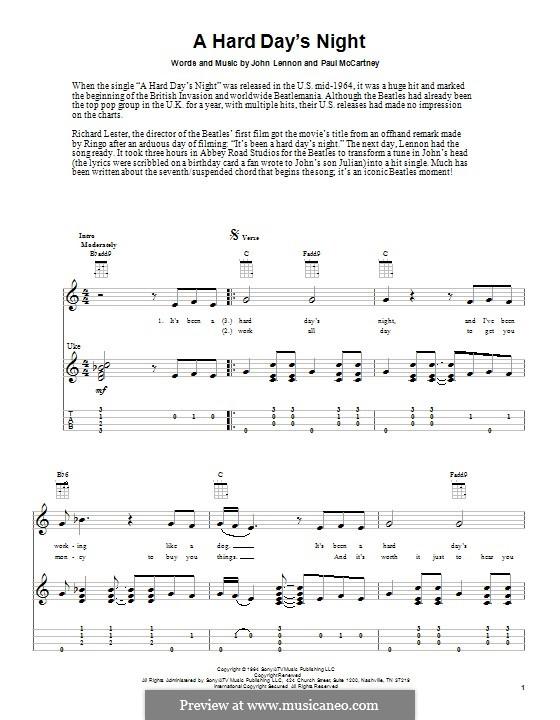 A Hard Day's Night (The Beatles): Für Ukulele by John Lennon, Paul McCartney