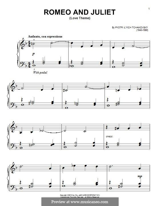 Love Theme: Bearbeitung für Klavier by Pjotr Tschaikowski