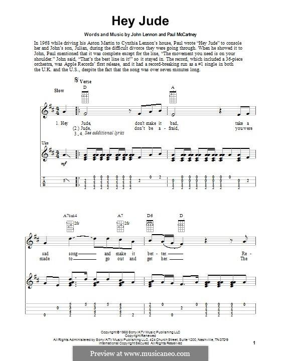 Hey Jude (The Beatles), for One Instrument: Für Ukulele by John Lennon, Paul McCartney