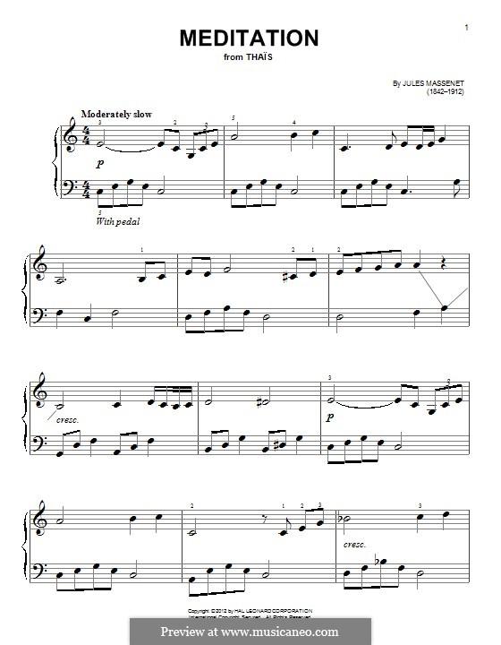 Meditation: Für Klavier by Jules Massenet
