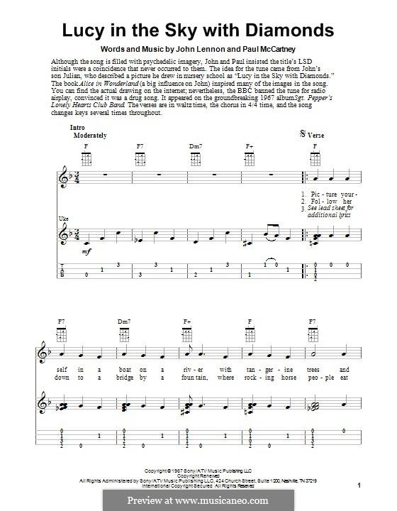Lucy in the Sky with Diamonds (The Beatles): Für Ukulele by John Lennon, Paul McCartney