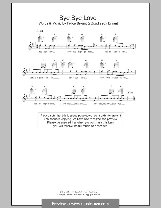 Bye Bye Love (The Everly Brothers): Für Ukulele by Boudleaux Bryant, Felice Bryant