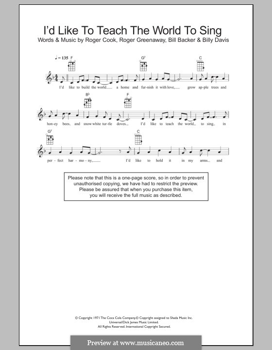 I'd Like to Teach the World to Sing (The New Seekers): Für Ukulele by Bill Backer, Billy Davis, Roger Cook, Roger Greenaway