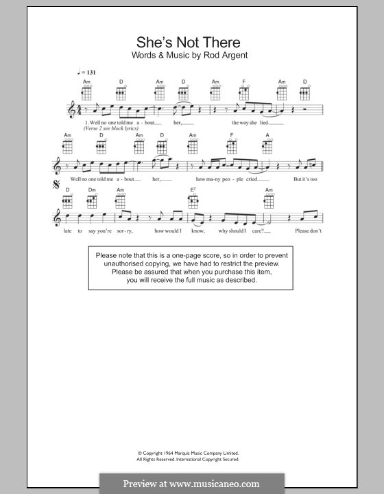 She's Not There (The Zombies): Für Ukulele by Rod Argent