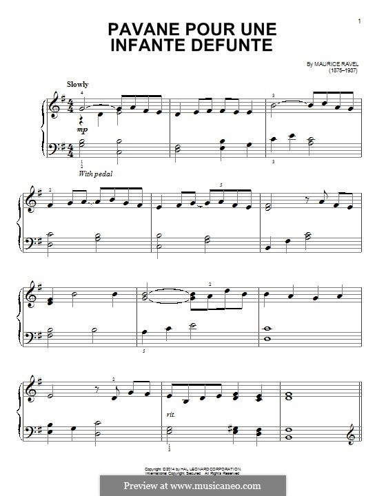 Pavane auf den Tod einer Infantin, M.19: For easy piano (fragment) by Maurice Ravel
