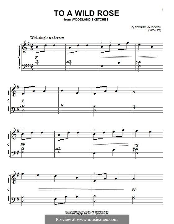No.1 To a Wild Rose: Für Klavier by Edward MacDowell