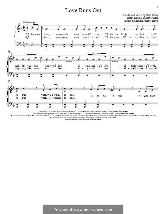 Love Runs Out (One Republic): Für Klavier by Andrew Brown, Brent Kutzle, Eddie Fisher, Ryan B Tedder, Zachary Filkins
