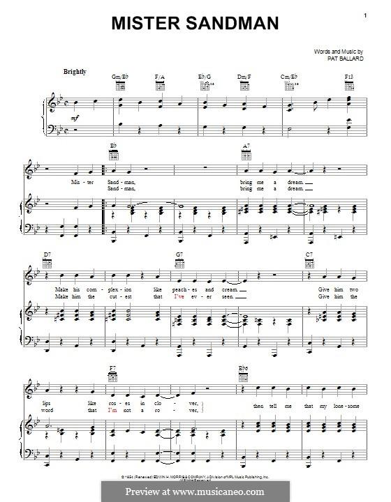 Mister Sandman (The Chordettes): Für Stimme und Klavier (oder Gitarre) by Pat Ballard