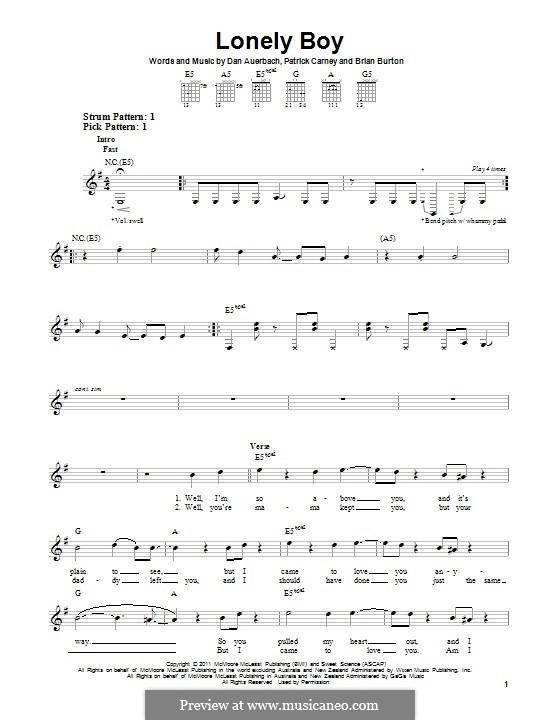 Lonely Boy (The Black Keys): Für Gitarre mit Tabulatur by Brian Burton, Daniel Auerbach, Patrick Carney