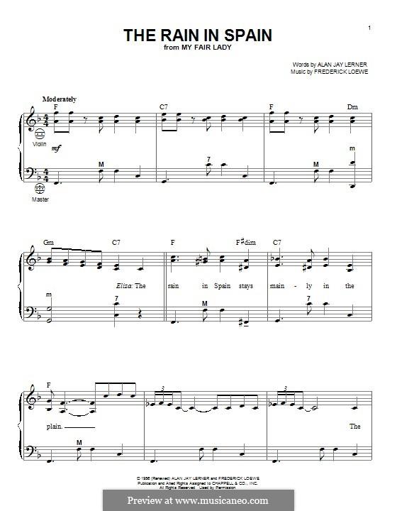The Rain in Spain (from My Fair Lady): Für Akkordeon by Frederick Loewe