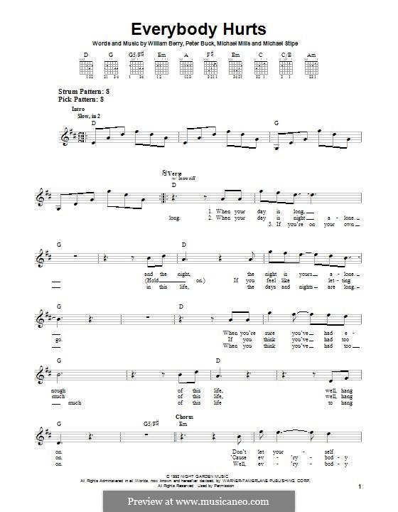 Everybody Hurts (R.E.M.): Für Gitarre mit Tabulatur by Mike Mills, Michael Stipe, Peter Buck, William Berry