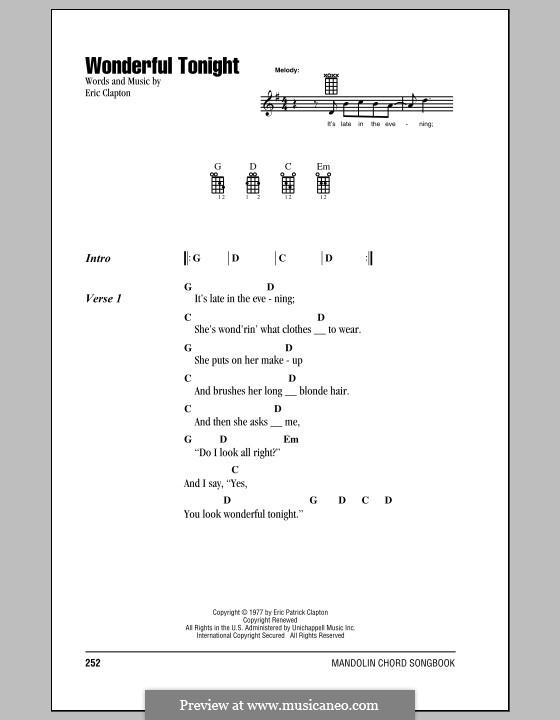 Wonderful Tonight: For mandolin by Eric Clapton