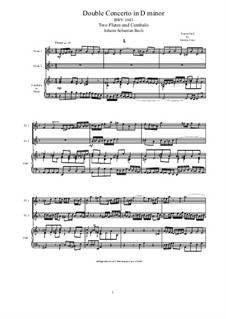 Doppelkonzert für zwei Violinen, Streicher und Basso Continuo in d-Moll, BWV 1043: Arrangement for two flutes and piano by Johann Sebastian Bach