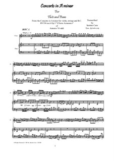 Konzert für Violine und Streicher Nr.6 in a-Moll, RV 356: Für Flöte und Piano by Antonio Vivaldi