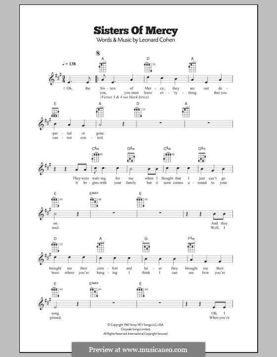 Sisters of Mercy: Für Ukulele by Leonard Cohen