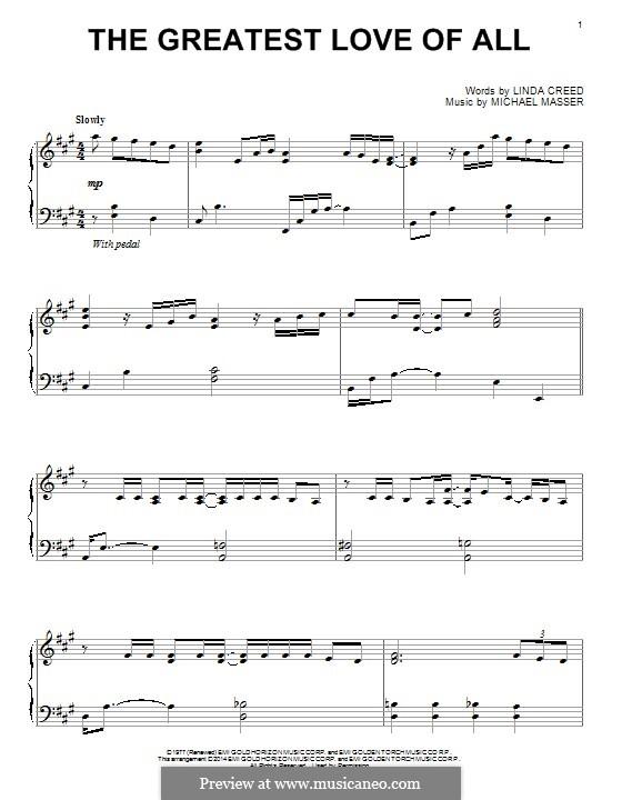 The Greatest Love of All (Whitney Houston): Für Klavier by Michael Masser
