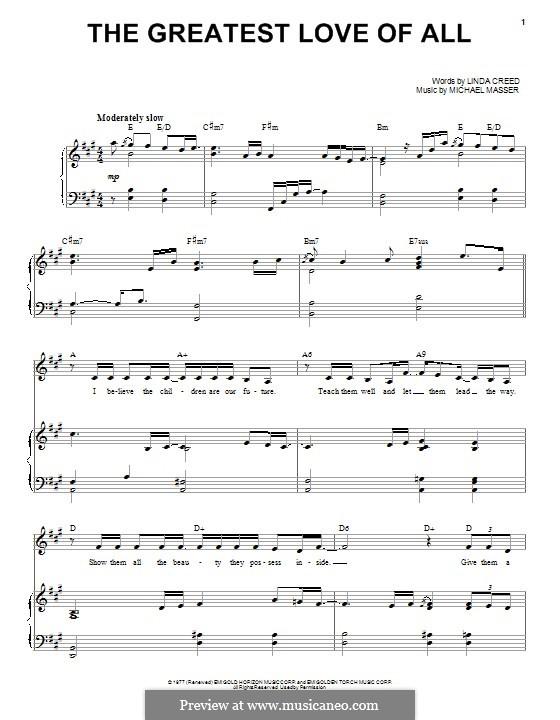 The Greatest Love of All (Whitney Houston): Für Stimme und Klavier by Michael Masser