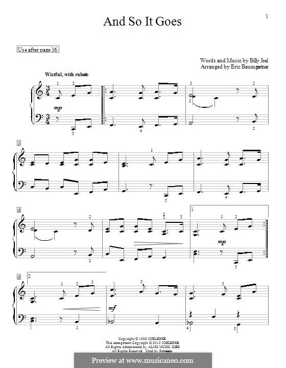 And So It Goes: Für Klavier by Billy Joel