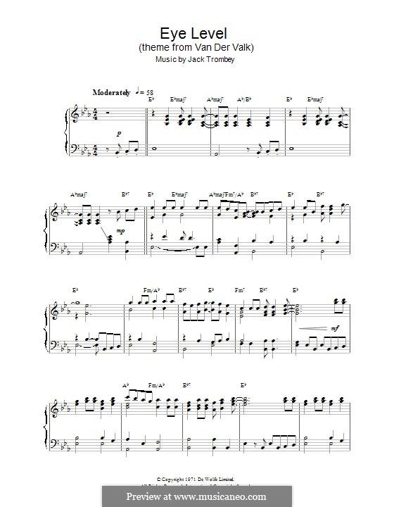 Eye Level (theme from Van der Valk): Für Klavier by Jack Trombey