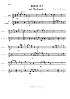 Dance in 5: For two alto recorders by David W Solomons
