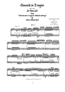 Konzert für Violine, Streicher und Basso Continuo Nr.2 in E-Dur, BWV 1042: Movement I Allegro, for piano by Johann Sebastian Bach