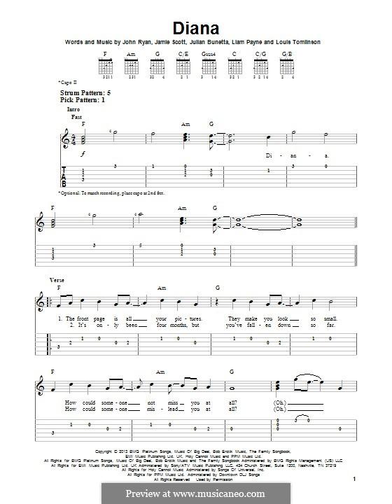 Diana (One Direction): Für Gitarre mit Tab by Julian Bunetta, Jamie Scott, Louis Tomlinson, Liam Payne, John Henry Ryan