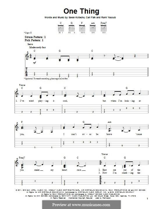 One Thing (One Direction): Für Gitarre mit Tab by Carl Falk, Rami Yacoub, Savan Kotecha
