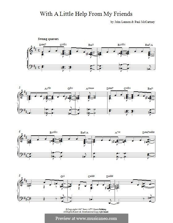 With a Little Help from My Friends (The Beatles): Für Klavier by John Lennon, Paul McCartney