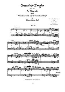 Konzert für Violine, Streicher und Basso Continuo Nr.2 in E-Dur, BWV 1042: Movement II Adagio, for piano by Johann Sebastian Bach