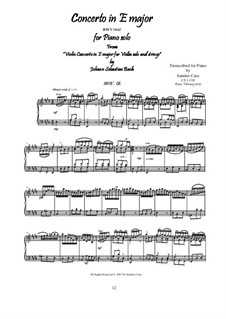 Konzert für Violine, Streicher und Basso Continuo Nr.2 in E-Dur, BWV 1042: Movement III Allegro assai, for piano by Johann Sebastian Bach