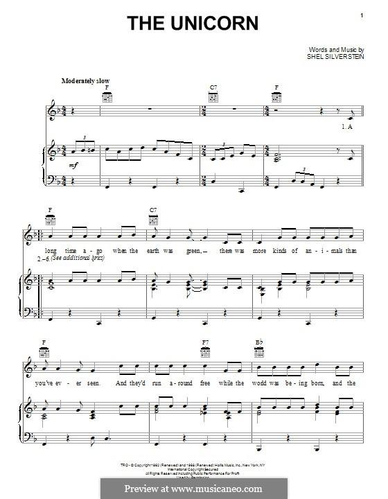 The Unicorn: Für Stimme und Klavier (oder Gitarre) by Shel Silverstein