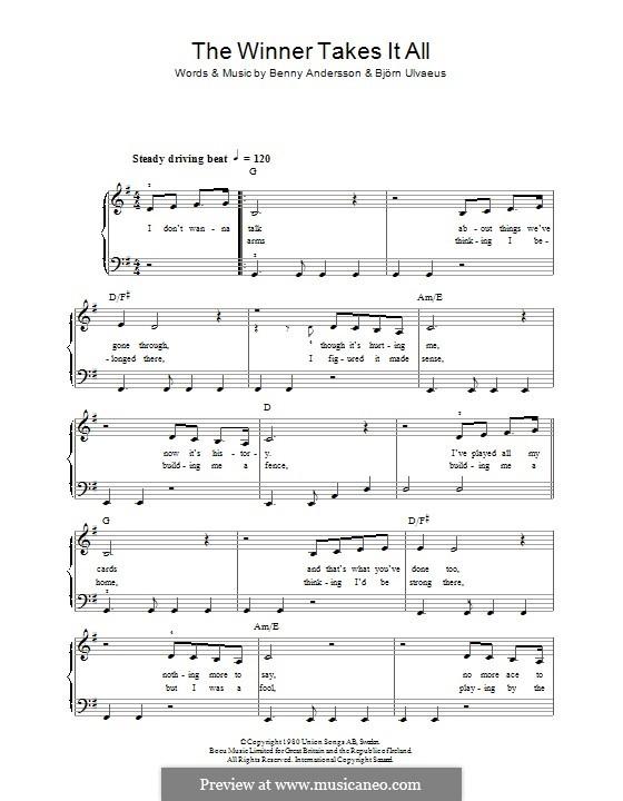 The Winner Takes it All (ABBA): Für Klavier by Benny Andersson, Björn Ulvaeus