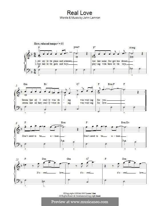 Real Love (The Beatles): Für Klavier by John Lennon