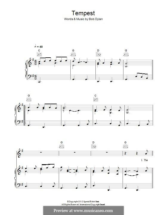 Tempest: Für Stimme und Klavier (oder Gitarre) by Bob Dylan