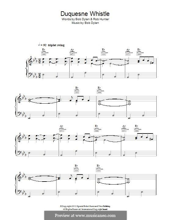 Duquesne Whistle: Für Stimme und Klavier (oder Gitarre) by Bob Dylan