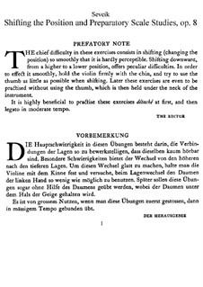 Changes of Position and Preparatory Scale Studies, Op.8: Für Violin by Otakar Ševčík