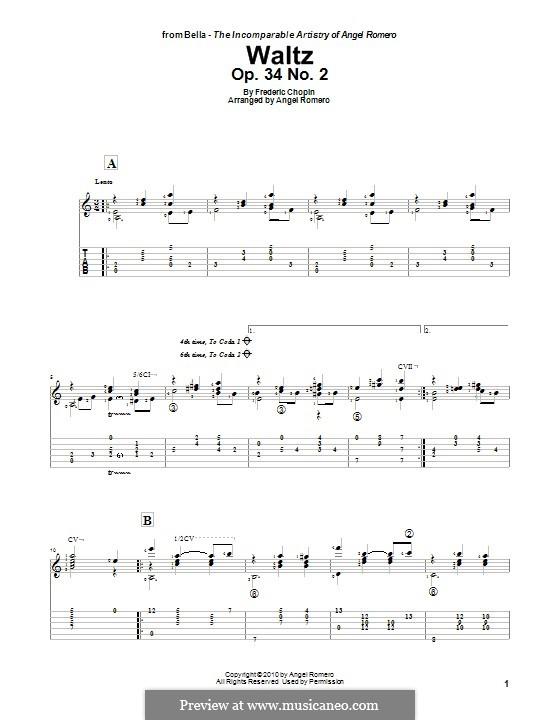 Walzer, Op.34: Nr.2, für Gitarre by Frédéric Chopin