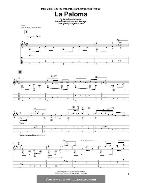La Paloma (Die Taube): Für Gitarre by Sebastián Yradier