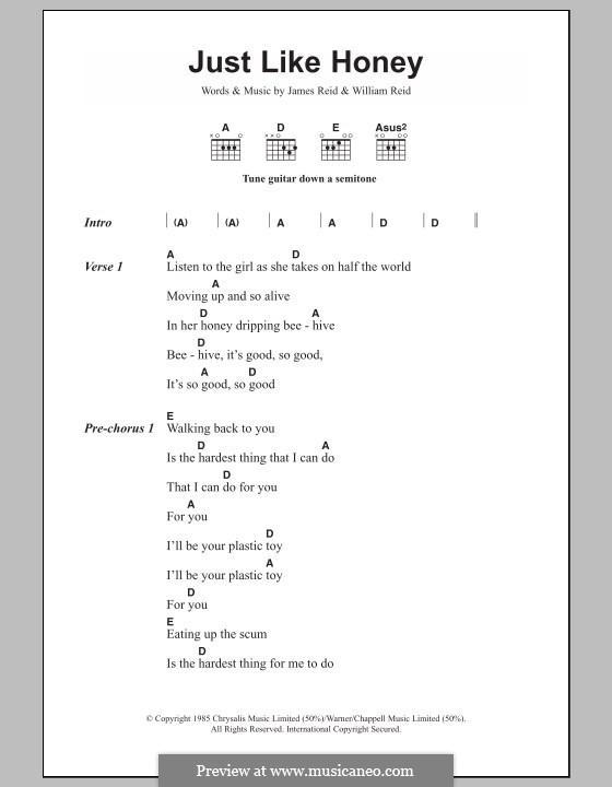 Just Like Honey: Text und Akkorde by James Reid, William Reid