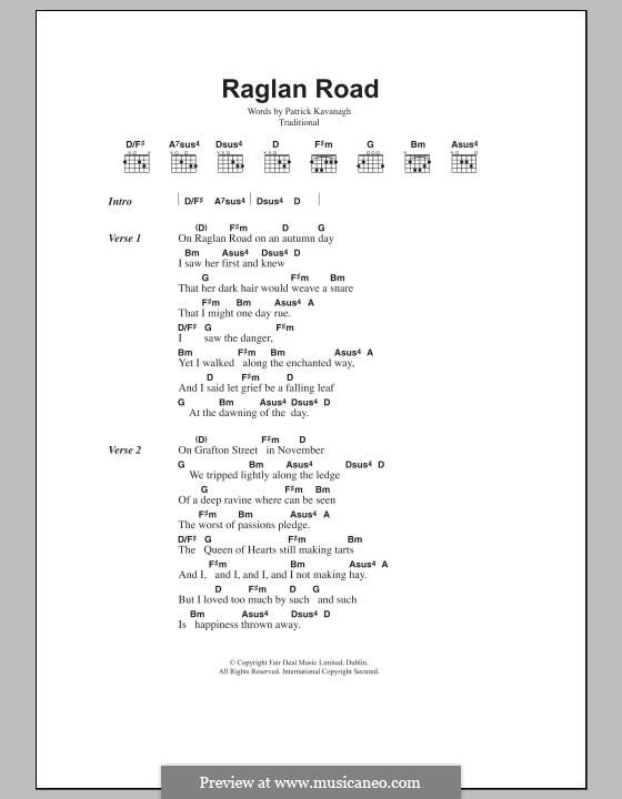 Raglan Road: Text und Akkorde by folklore