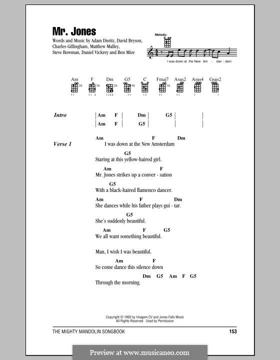 Mr. Jones (Counting Crows): Für Stimme und Klavier (oder Gitarre) by Adam F. Duritz, David Bryson