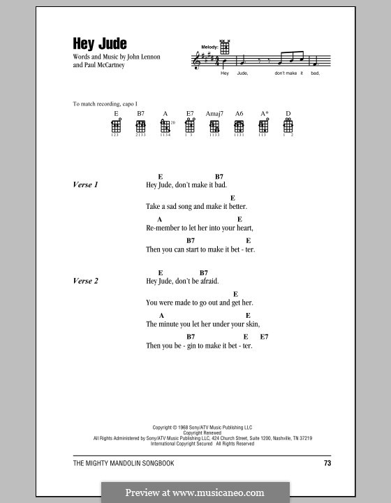 Hey Jude (The Beatles): Für Stimme und Klavier (oder Gitarre) by John Lennon, Paul McCartney