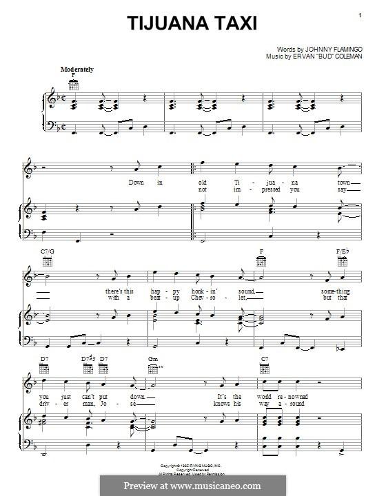 Tijuana Taxi (Herb Alpert & The Tijuana Brass Band): Für Stimme und Klavier (oder Gitarre) by Ervan Coleman, Johnny Flamingo