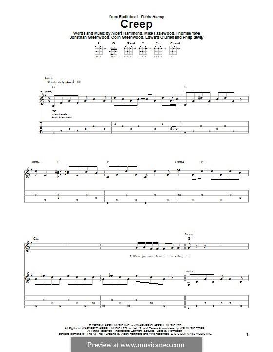 Creep (Radiohead): Für Gitarre mit Tabulatur by Albert Hammond, Colin Greenwood, Ed O'Brien, Jonny Greenwood, Mike Hazelwood, Phil Selway, Thomas Yorke