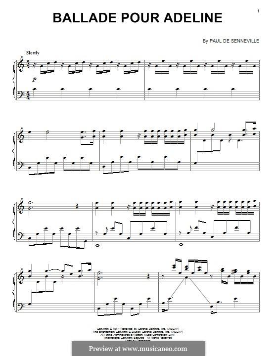 Ballade pour Adeline: Für Klavier by Paul de Senneville