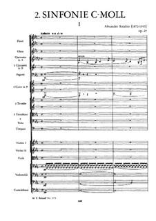 Sinfonie Nr.2 in c-Moll, Op.29: Vollpartitur by Alexander Skrjabin