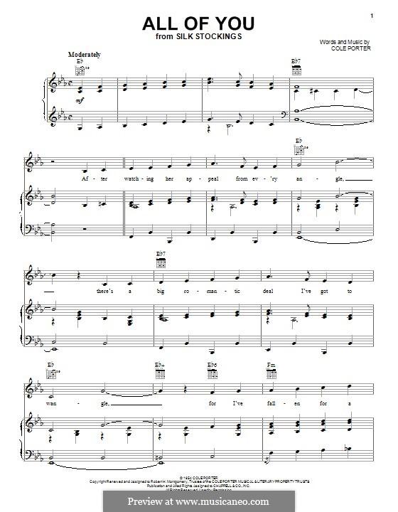 All of You: Für Stimme und Klavier (oder Gitarre) by Cole Porter